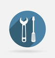 Screwdriver and wrench circle blue icon with vector