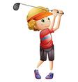 A boy golfing vector