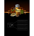 Ornate frame with beer elements vector