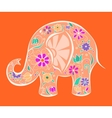 Orange elephant painted by flowers vector