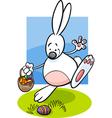 Bunny and easter eggs cartoon vector