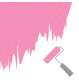 Pink dot paint roller brush for text on the wall vector