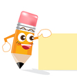 Pencil cartoon showing blank box vector