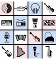 Musical instruments black set vector