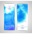 Set of blue artistic watercolor backgrounds vector