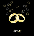 Gold wedding rings on a black background vector