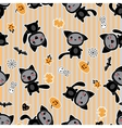 Halloween cartoon cat background vector