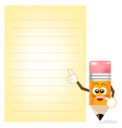 Pencil cartoon showing note paper vector
