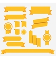 Yellow retro ribbons set elements vector