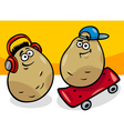 New potatoes cartoon vector