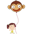 A little girl holding a monkey balloon vector
