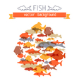 Various fishes in the circle on paper background vector