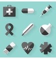 Flat icon set medical white style vector