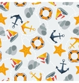 Nautical seamless pattern in flat design style vector