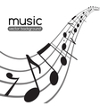 Music notes on wavy staff vector
