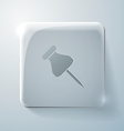 Glass square icon pin for papers vector