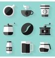 Flat icon set coffee white style vector
