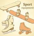 Sketch sport equipment in vintage style vector
