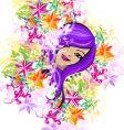 Floral garden girl vector