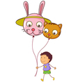 A young boy holding two balloons vector
