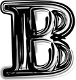 Freehand typography letter b vector