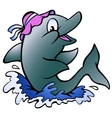 Hand-drawn of an dolphin playing in the blue water vector