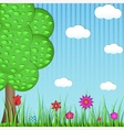 Paper tree grass and flowers on a blue background vector