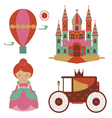 Fantasy castle and princess set vector