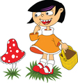 Mushroom cartoon girl vector