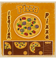 Vintage grunge background with a pizza menu vector