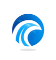 Round wave water abstract logo vector