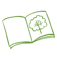 A book with a drawing of a tree vector