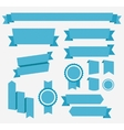 Blue retro ribbons set elements isolated vector
