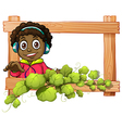 A frame with a boy and plants vector