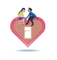 Lover express love on heart shape home vector