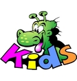Hand-drawn of an dinosaur logo for kids vector