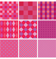Set of plaid seamless patterns in pink colors vector