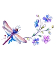 Horizontal background with dragonfly and flowers vector