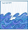 Artistic hand-drawing white sheep in the ocean vector