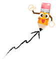 Pencil cartoon write growing graph vector