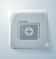 Glass square icon folder for documents vector