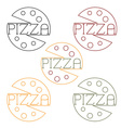 Pizza labels craft line style vector