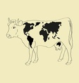 Cow world map vector