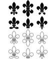 Set of royal heraldic lily vector