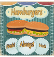 Vintage background with the image of hamburgers vector