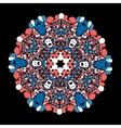 Ornate round mandala lace on black background vector