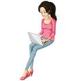 A woman using a laptop vector
