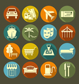 Icons vacation and travel on the color plate vector