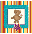 Baby announcement card with teddy bear and flower vector