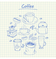 Coffee doodles squared paper vector